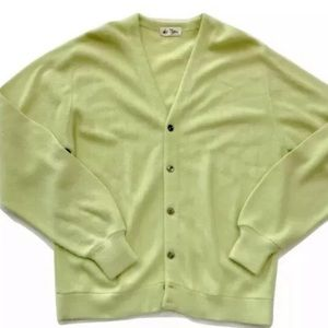 Vintage Sweaters - Vtg grandpa cardigan sweater neon yellow button up